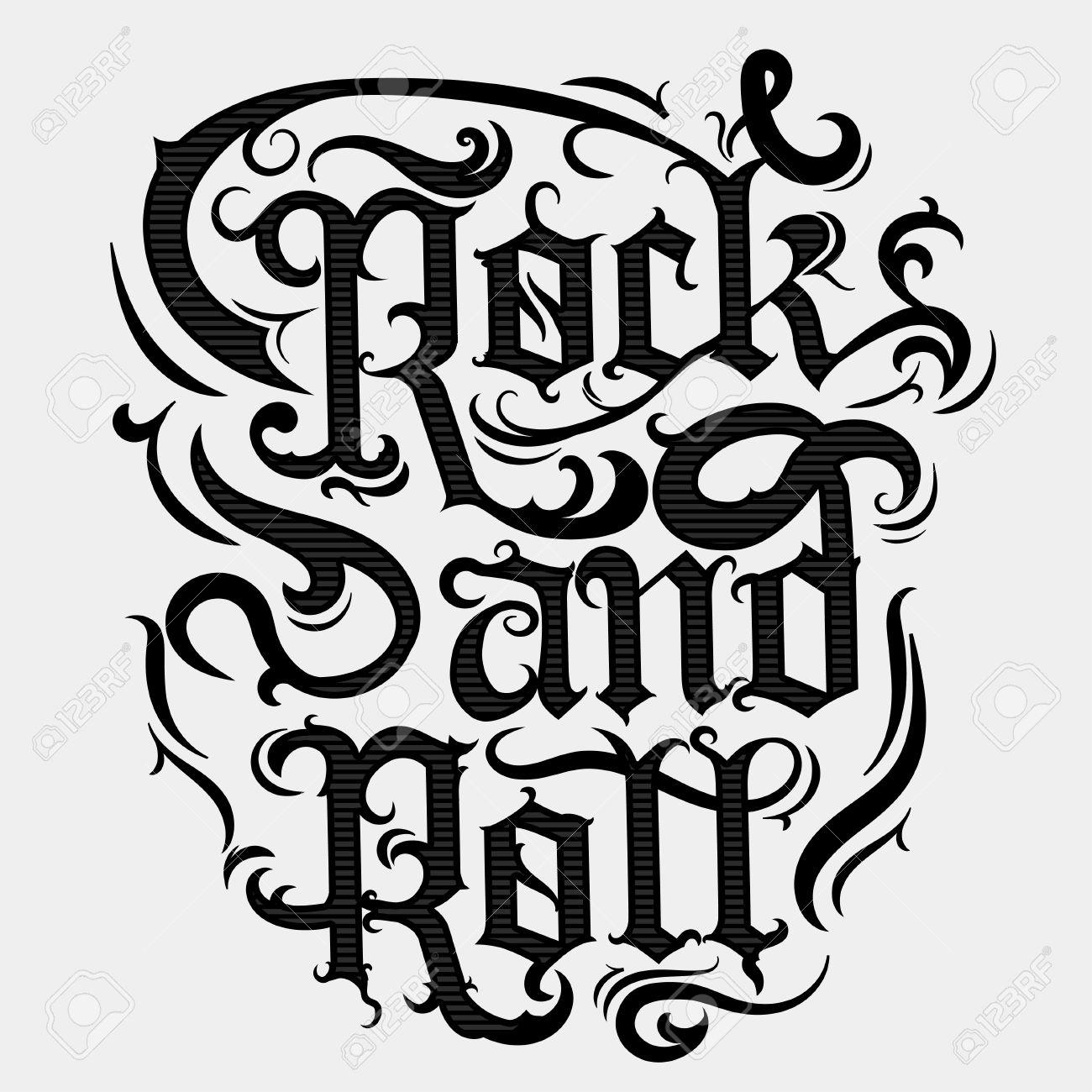 Rock n roll music print, vintage label, rock-music tee print stamp, vector graphic design. t-shirt print lettering artwork - 62134226