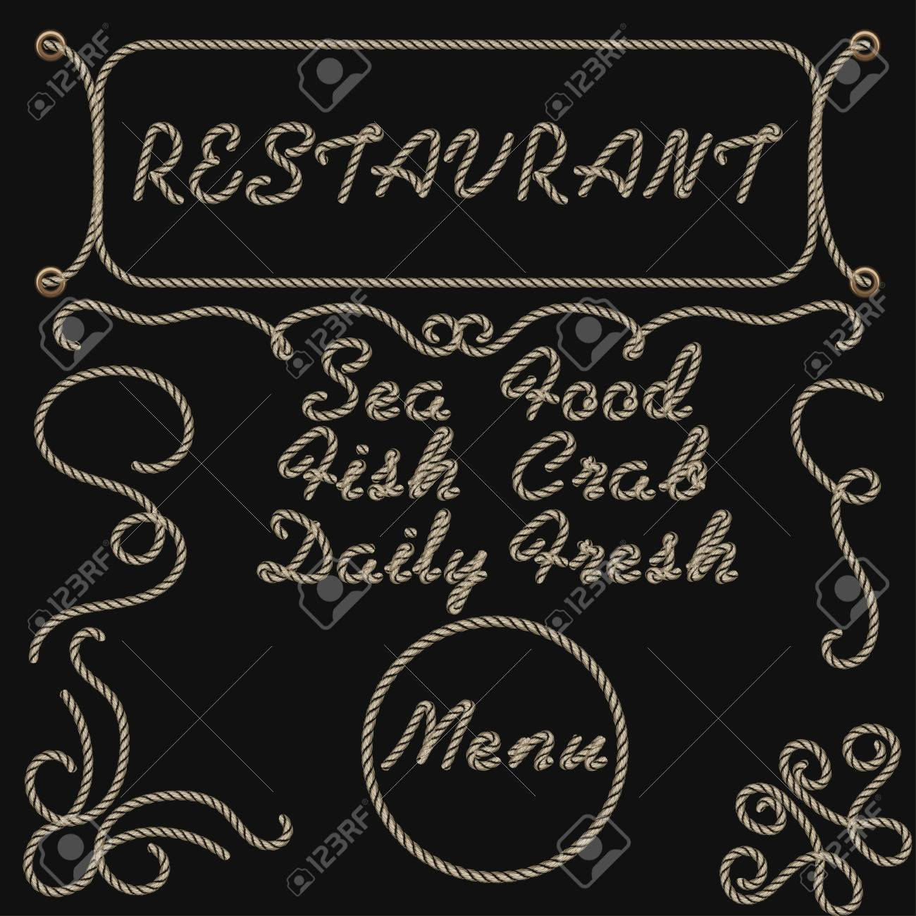 rope hand lettering sea food restaurant menu template daily