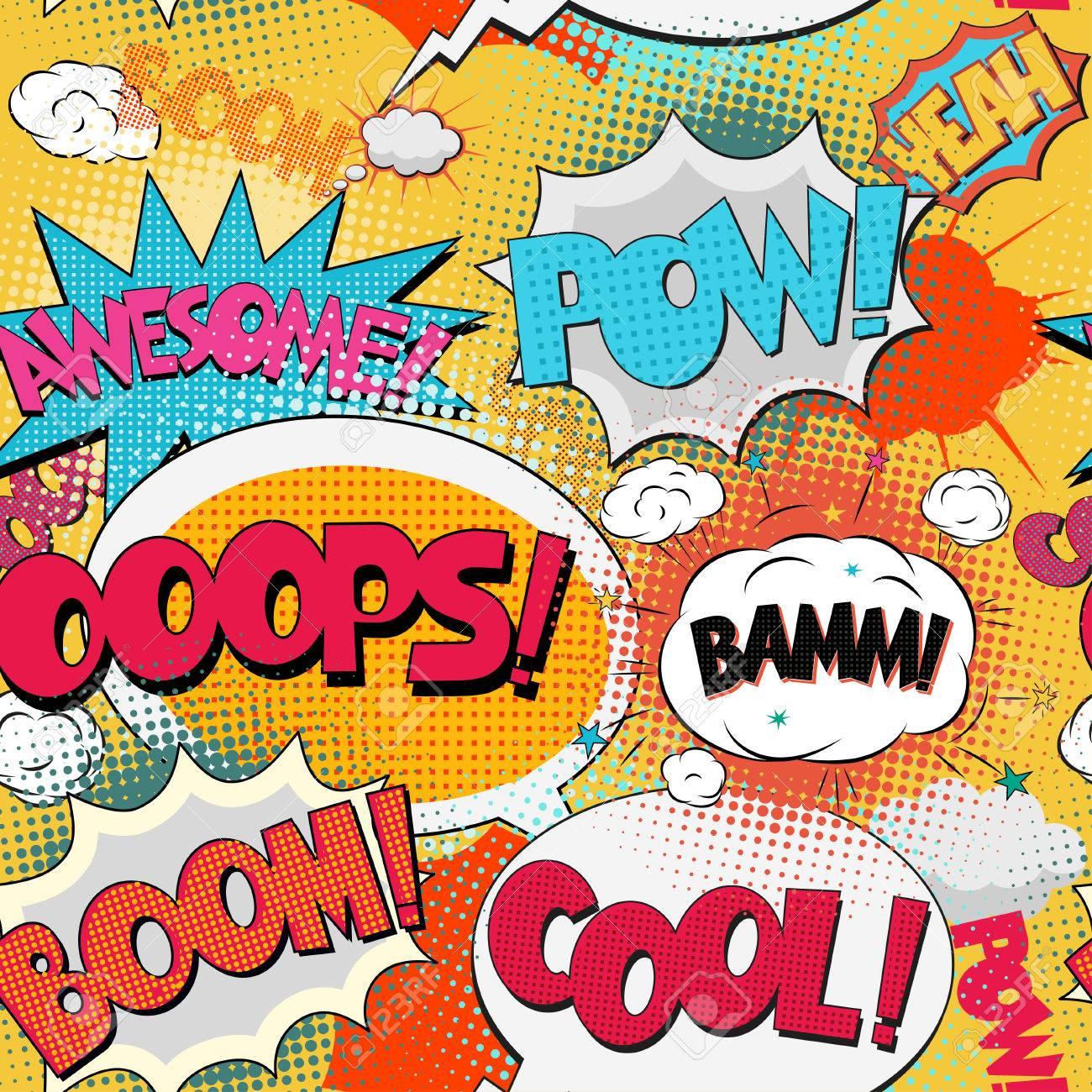 Pop-Art Patrón Transparente, Cómica De La Burbuja Del Texto Del ...