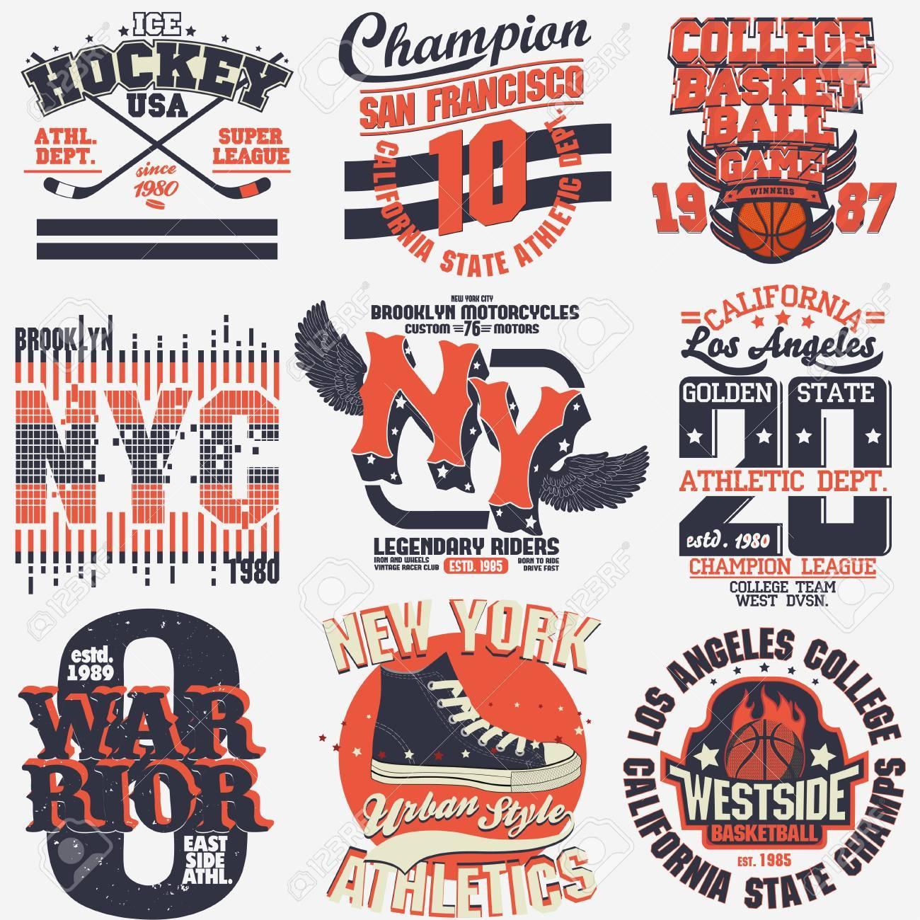 f3c27eba6 T-shirt stamp graphic set, New York Sport wear typography emblem set,vintage
