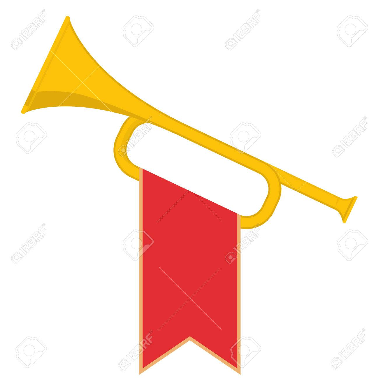 Trumpet with red flag icon  Brass Bugle Cartoon Illustration