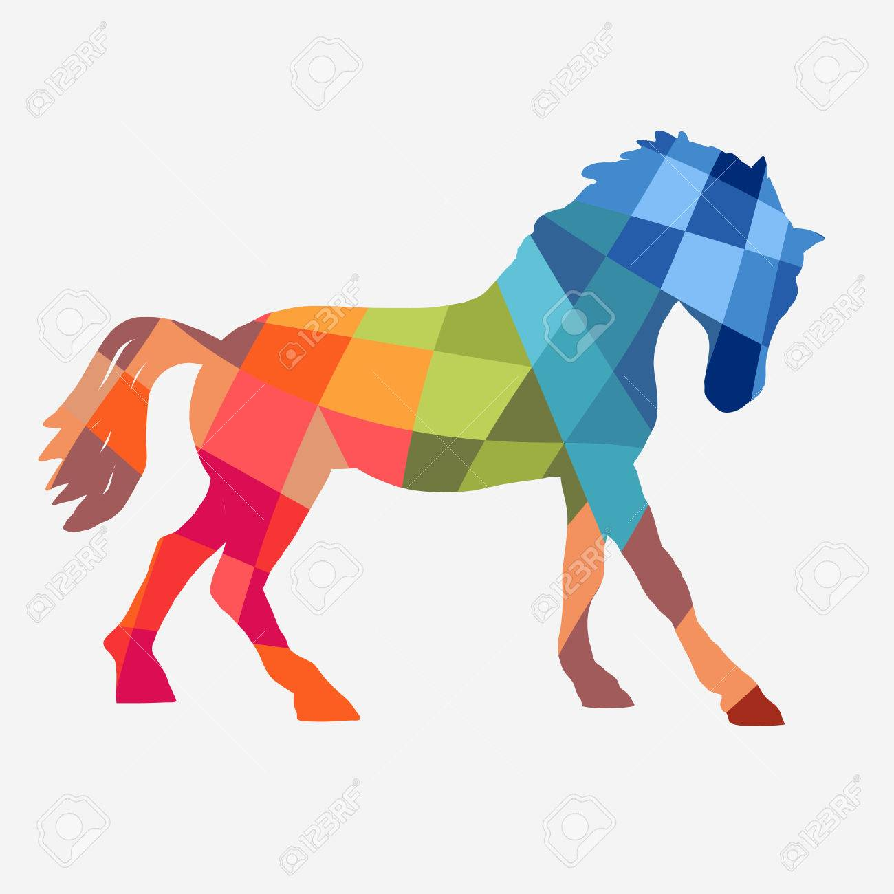 Horse Profile Geometric Shapes Design On A White Background Royalty Free Cliparts Vectors And Stock Illustration Image 70737145