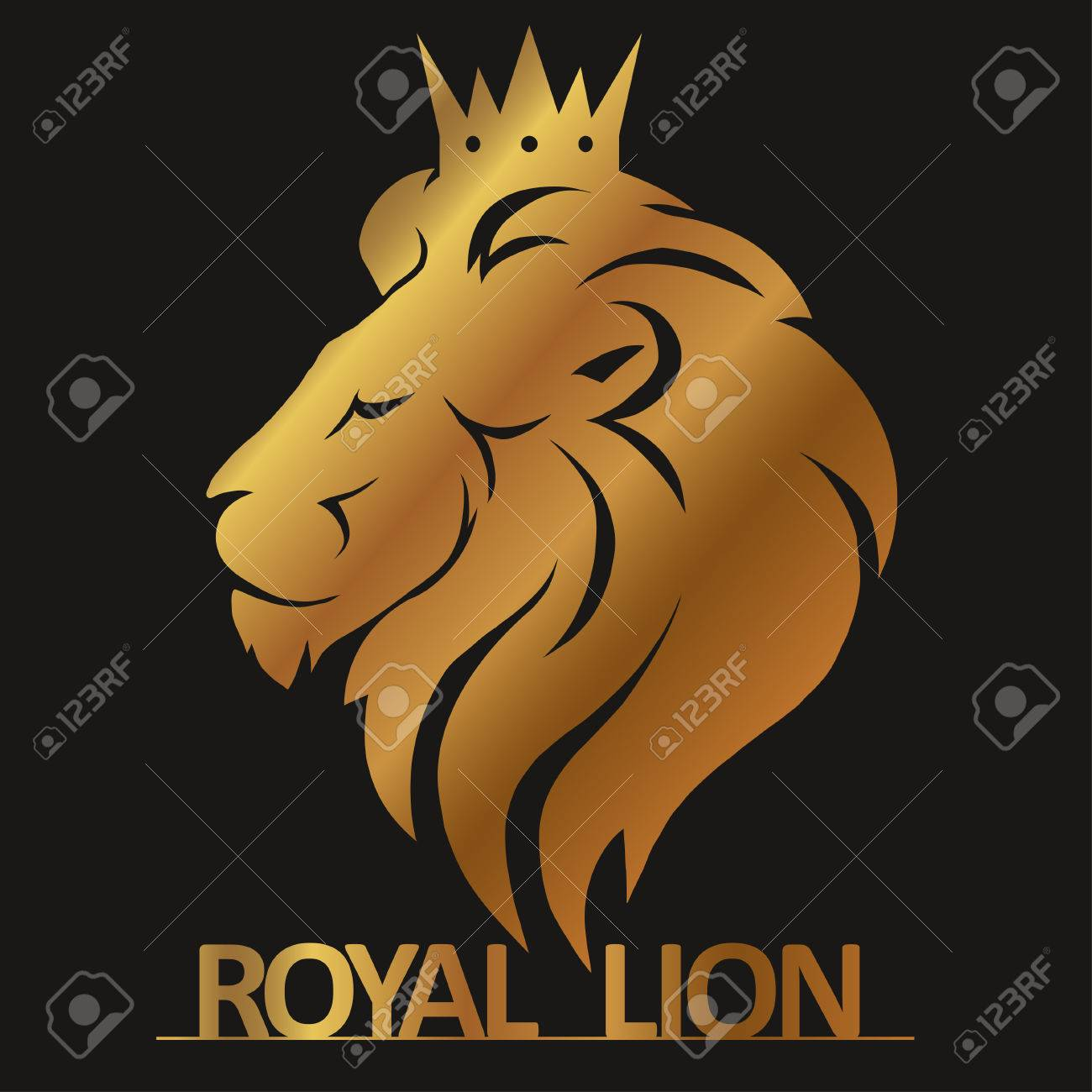 Lion Head With Crown Logo Royal Cat Profile Golden Luxury Emblem Vector Stock