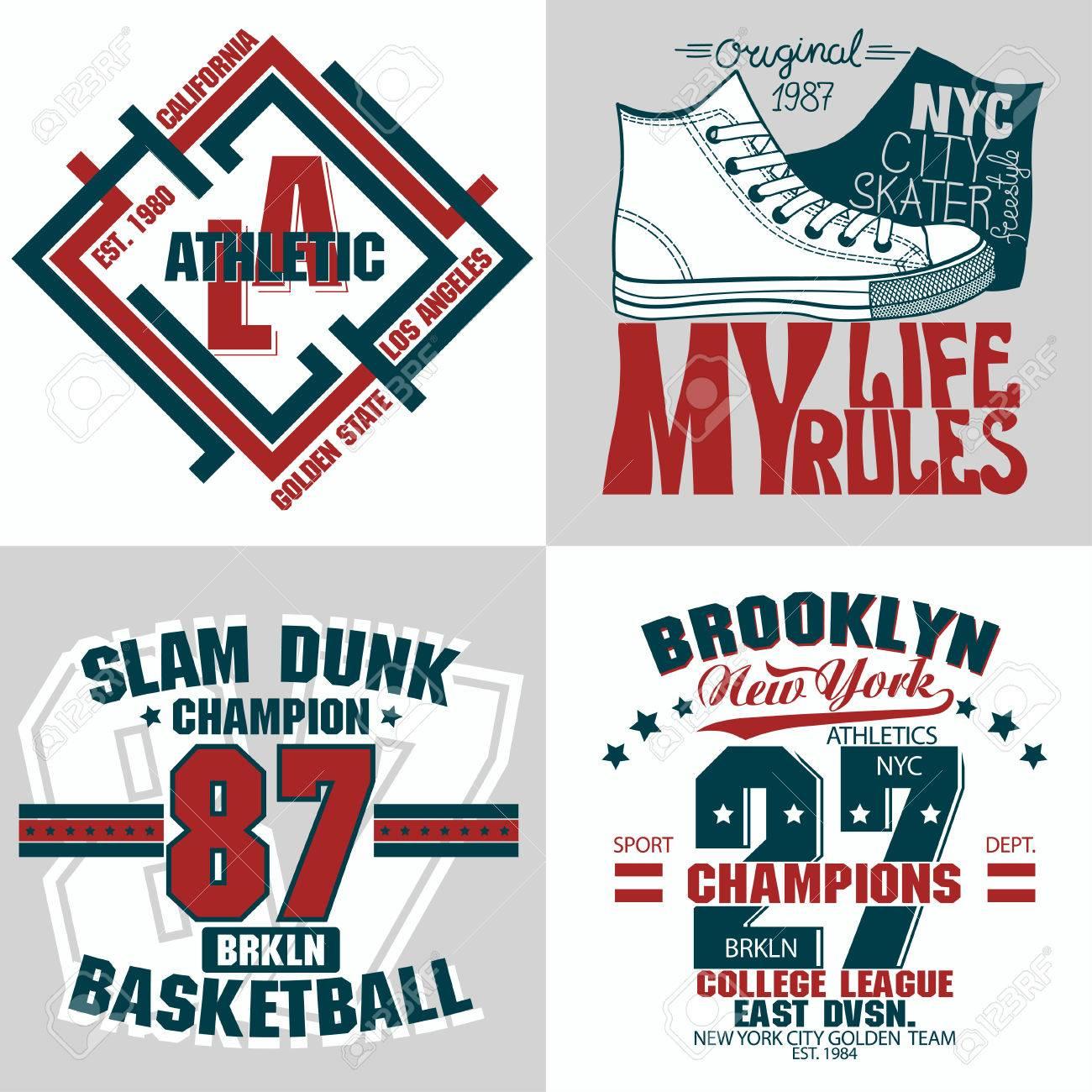 94038d714 T-shirt stamp graphic set, Sport wear typography emblem, vintage tee,  athletic