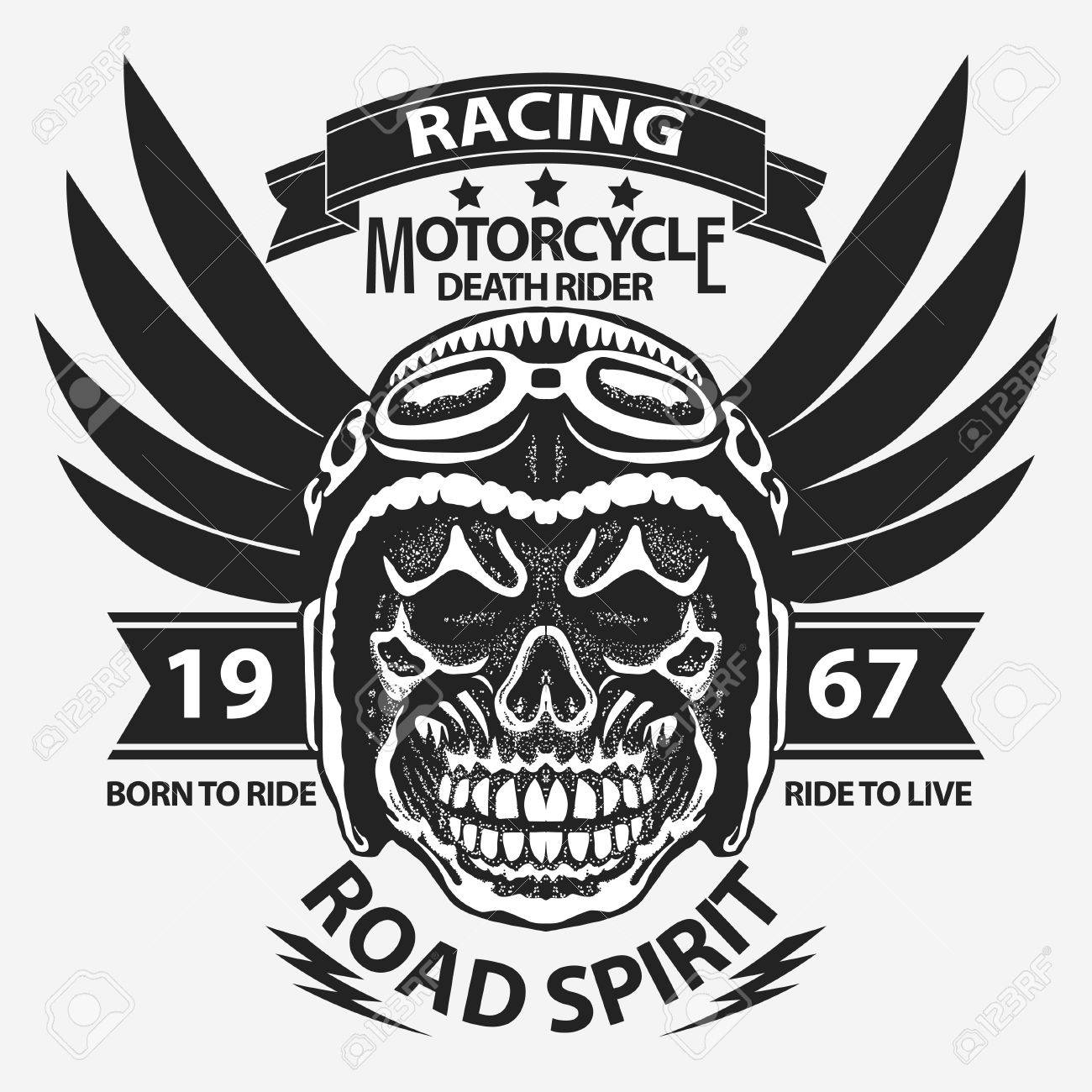 a7b087a9 Motorcycle t-shirt graphics. Skull rider in helmet with wings. Road Racer  emblem