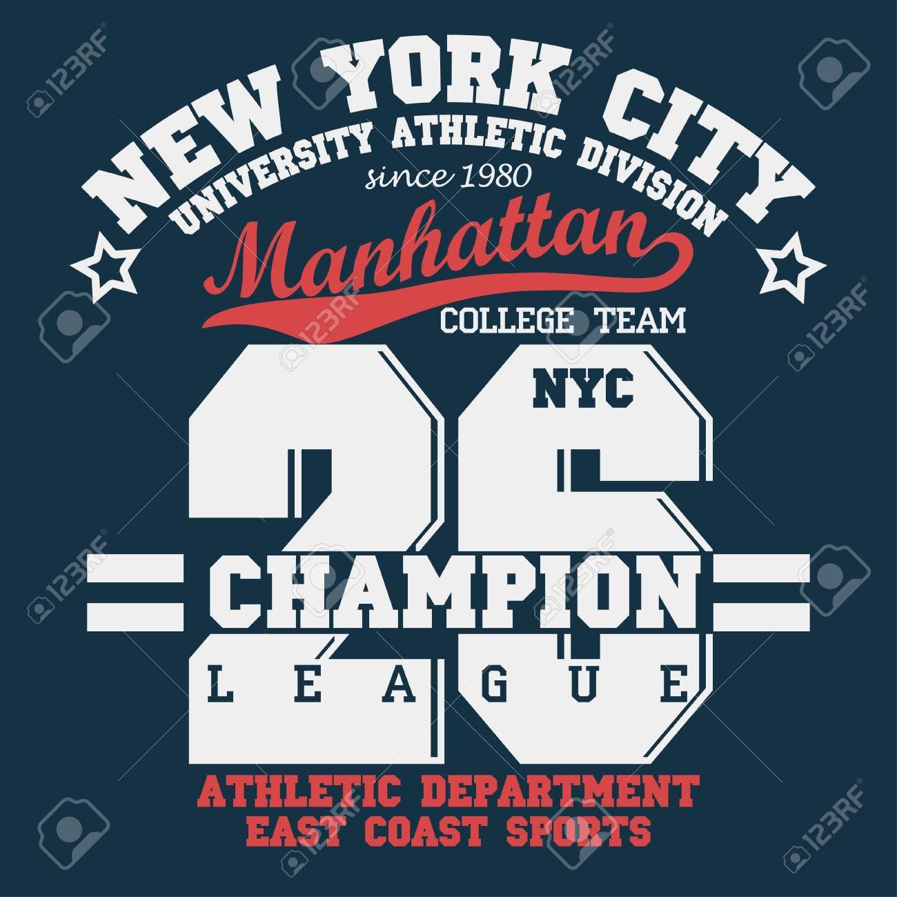 f6ffca43 New York Manhattan Sport wear typography emblem, t-shirt stamp graphics, tee  print