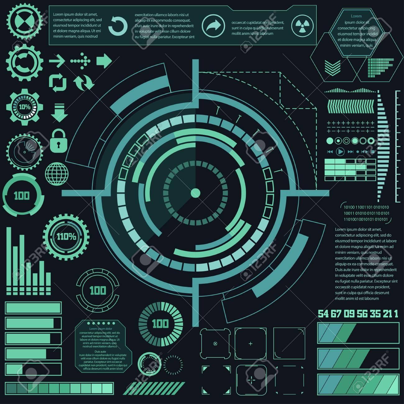 Elementos De Interfaz De Usuario De Toque Gráfico Futurista Virtual ...