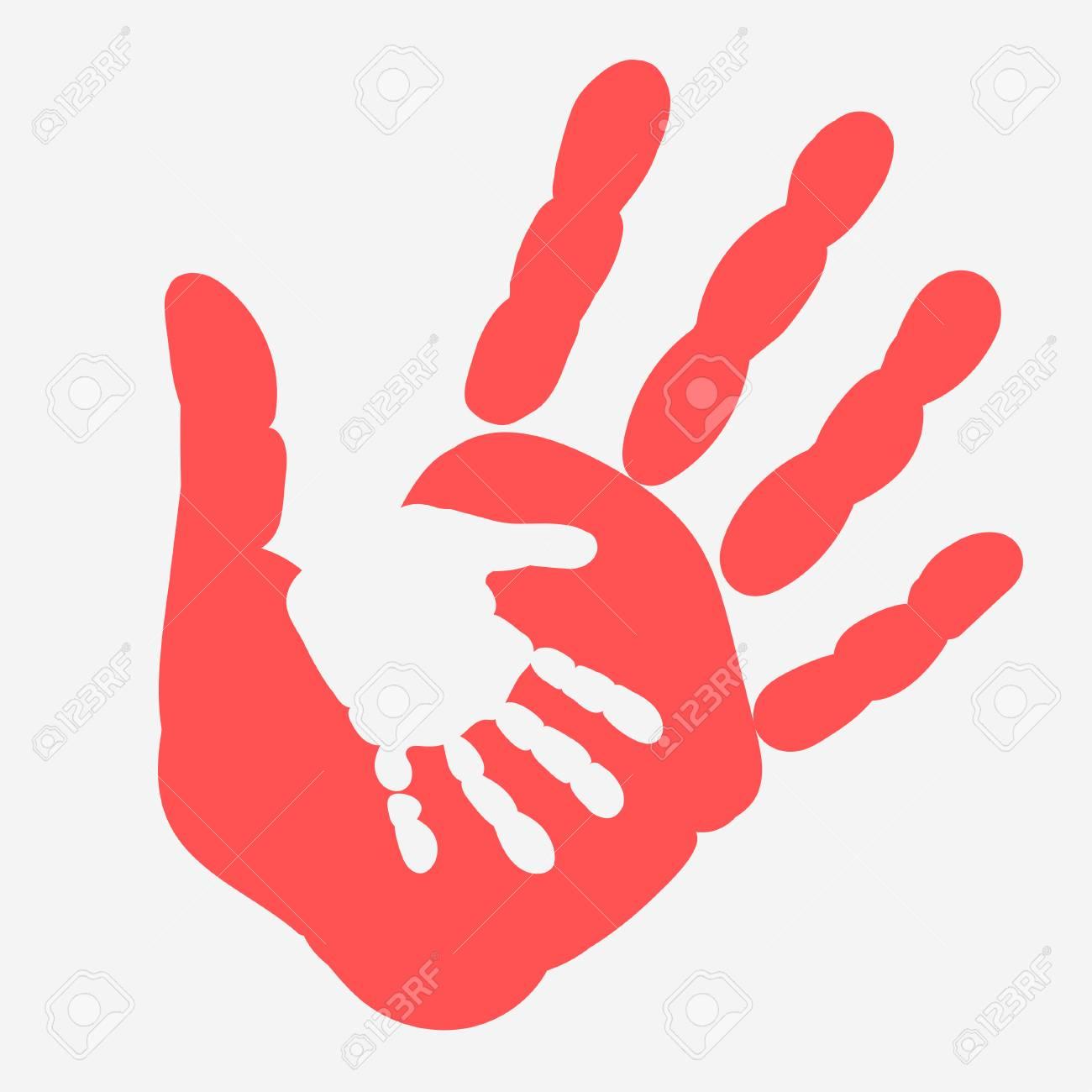 Mutter Und Kind Handabdruck Palme Von Frau Und Baby Hande