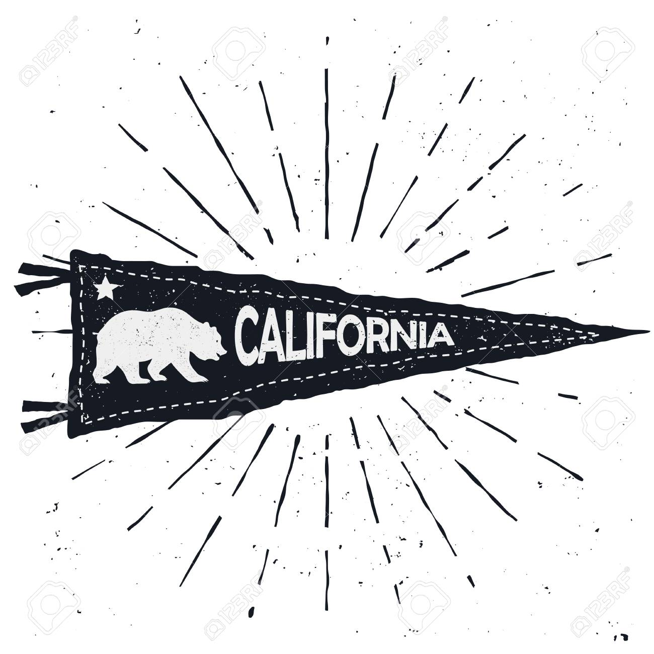 Adventure Pennant Vintage Hand Drawn Flag California Sign Vector Stock