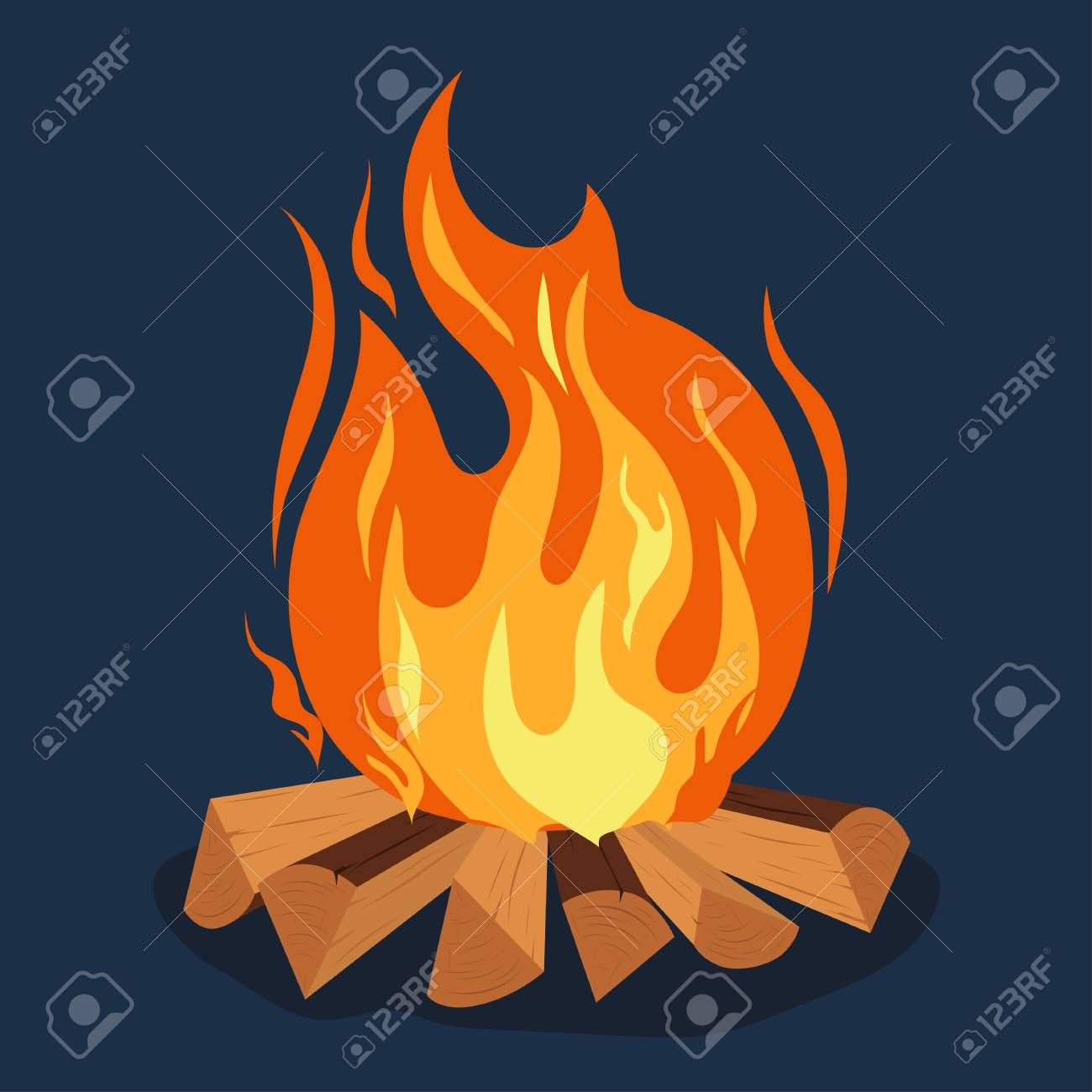 Bonfire Cartoon Style Illustration Camping Burning Woodpile