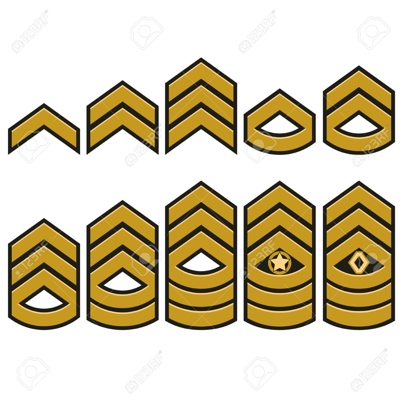 Military Ranks Symbol Epaulet Set Army Patches With Stars