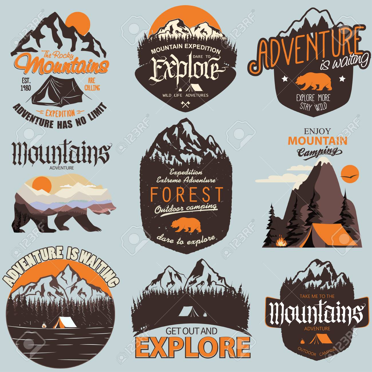 f8b3e3a5 Adventure t-shirt print set. Outdoor expedition typography, poster with  mountains and bear