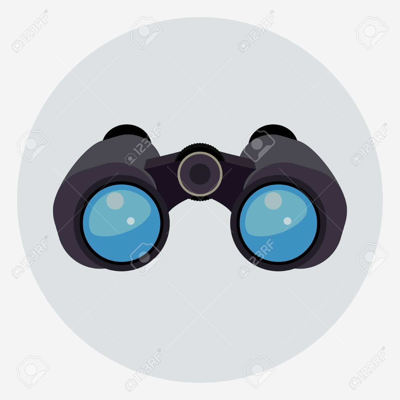 Binoculars with clear blue lenses isolated, explorer find icon. Vector - 110091061