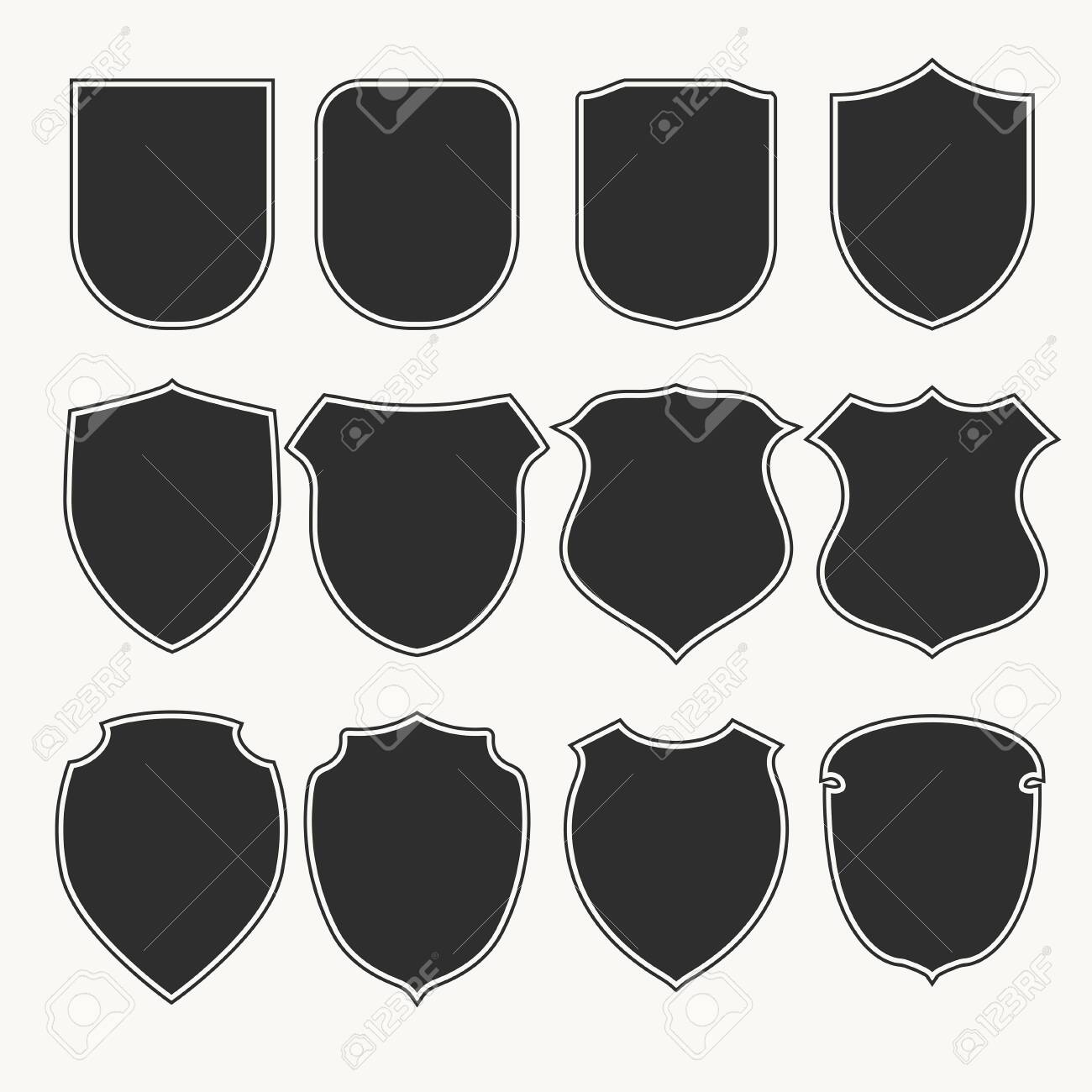 Heraldic shields icons set silhouettes. Vector illustration - 124278968