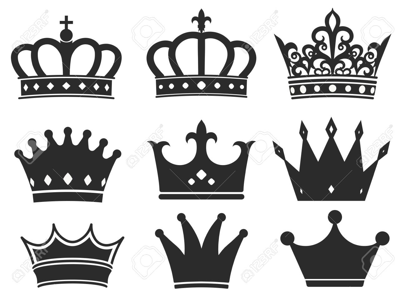 Crown silhouette icon collection. Royal diadem symbol set, majestic tiara black elements. Vector illustration - 136075102