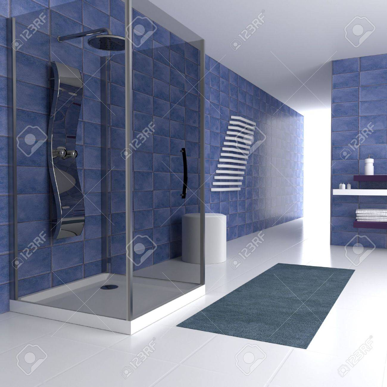 Simple bathrooms with shower - Simple Blue Bathing In 3d With Metal Shower Stock Photo 16142814