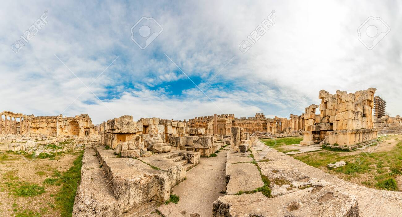 Ancient ruined walls and columns of Grand Court of Jupiter temple panorama, Beqaa Valley, Baalbeck, Lebanon - 131530696