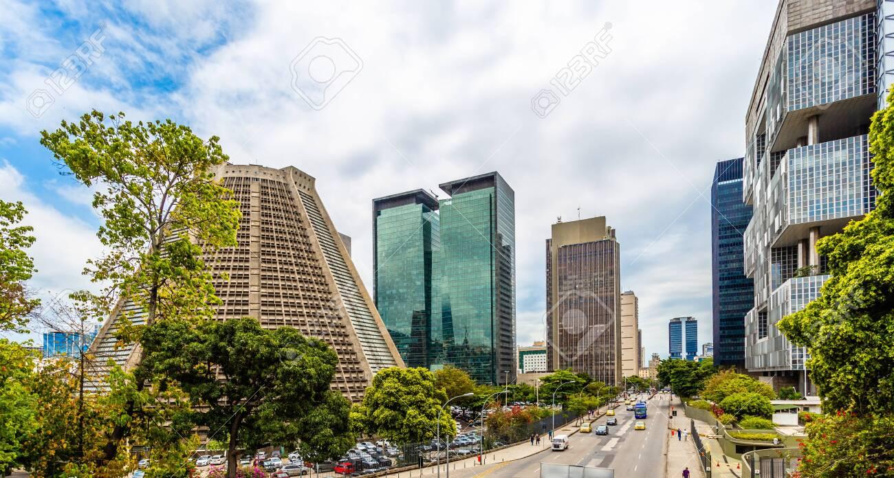 Modern skyscrapers buildings downtown panorama, Rio De Janeiro, Brazil - 135166008
