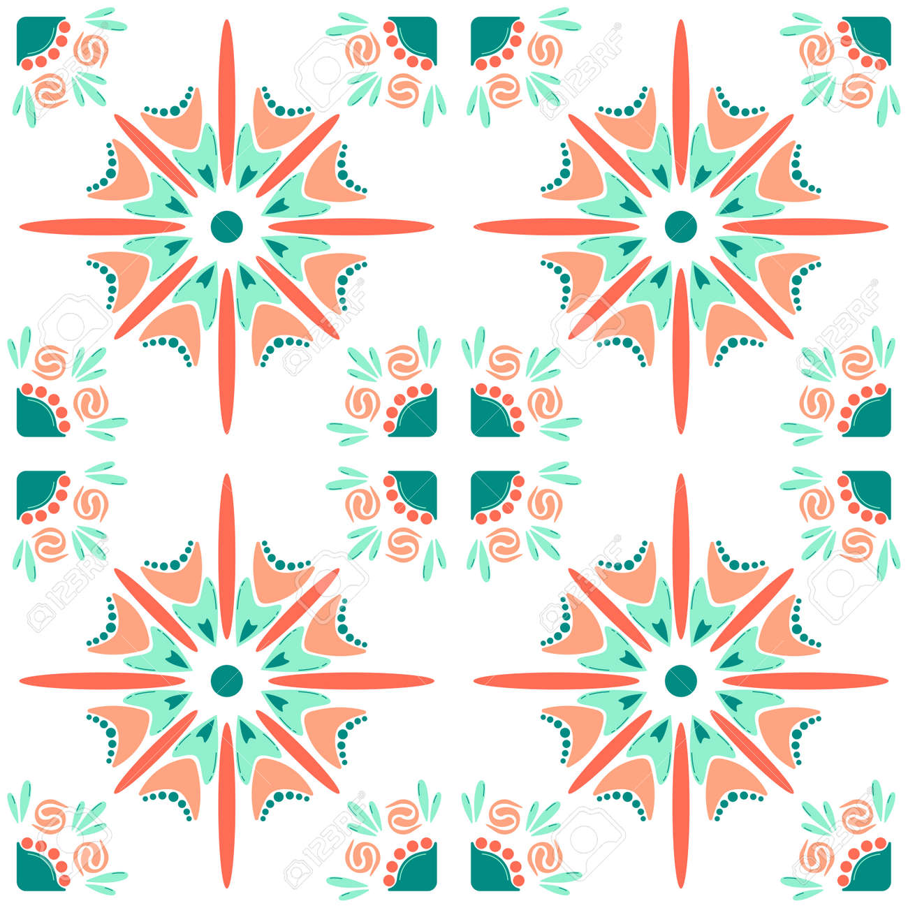 Pattern, floral abstract pattern, repeats on a grid. Suitable for use on the background, wallpaper, printed matter, wrapping paper, ceramic inflow. Vector illustration. - 173016044