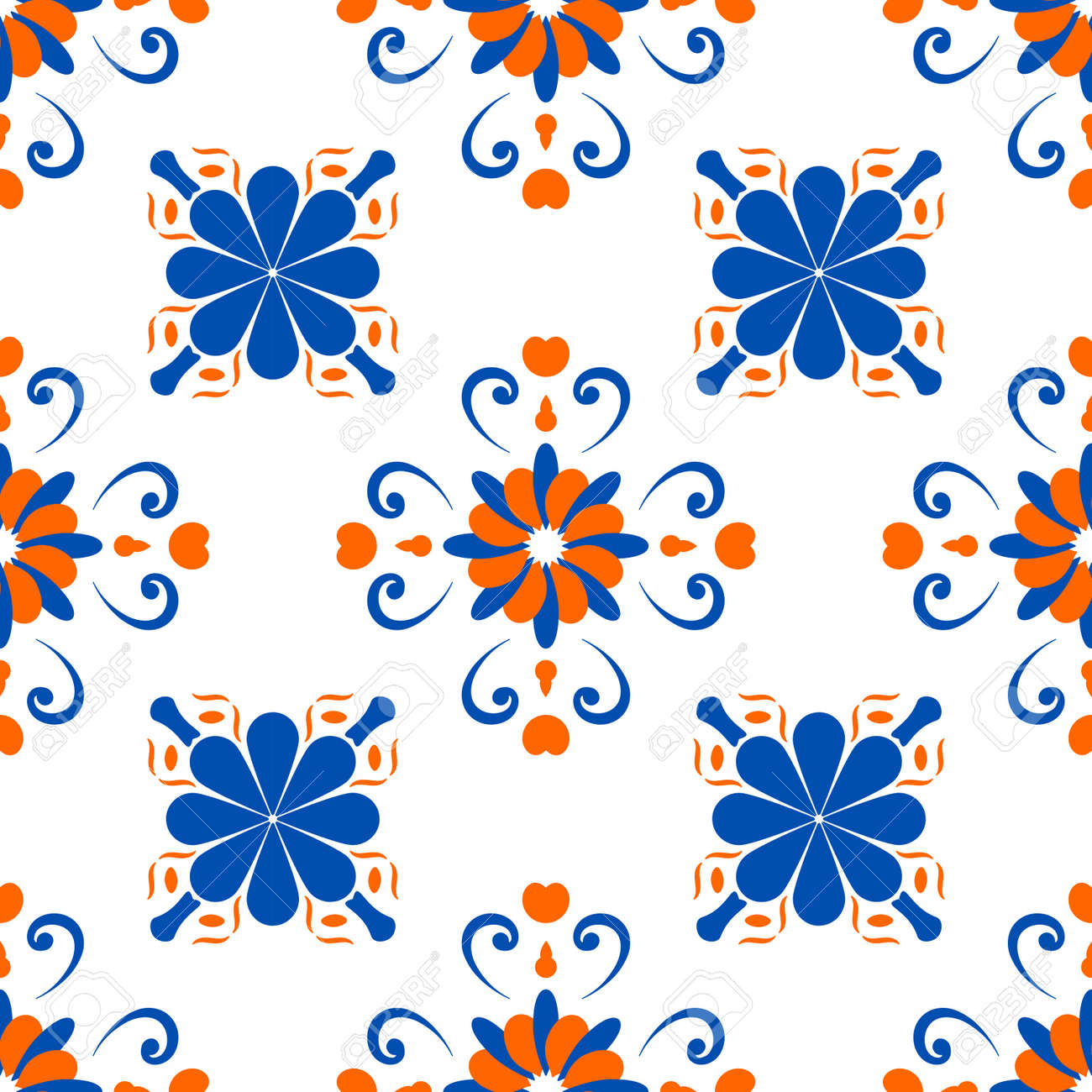 An abstract pattern in the style of a peronda tile, repeated on a grid. Suitable for backdrops, wallpapers, printed matter, wrapping paper, ceramic fill. Vector illustration. - 173016047
