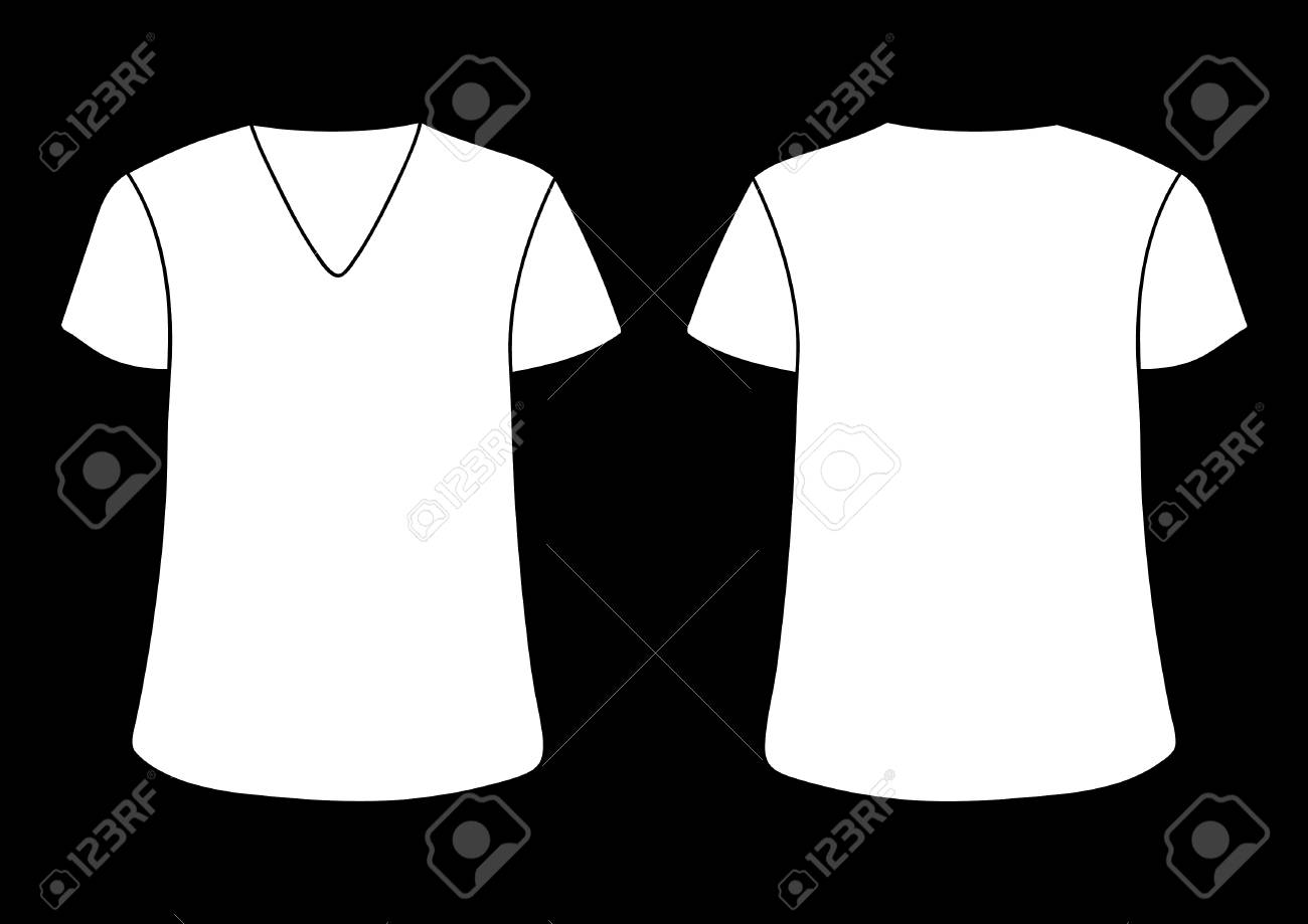 Vector Males And Womans V Neckline T Shirt Template Front