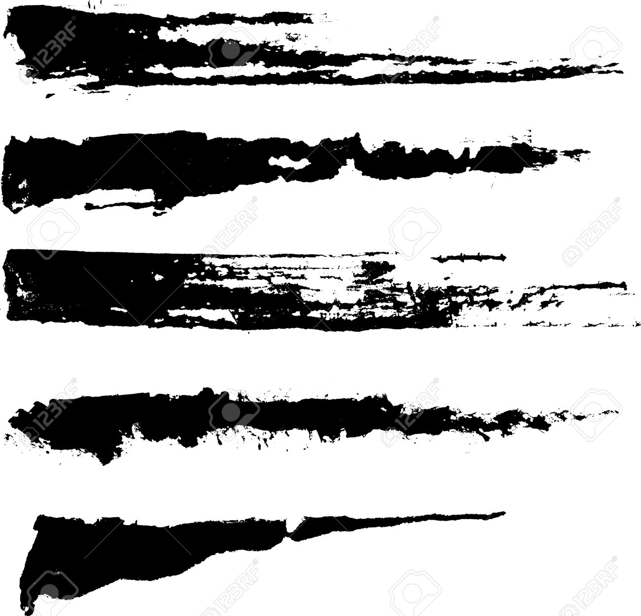 Set of five rough inky brush strokes. Each vector brush stroke on independent layer for easy use and separation. Stock Vector - 4612845