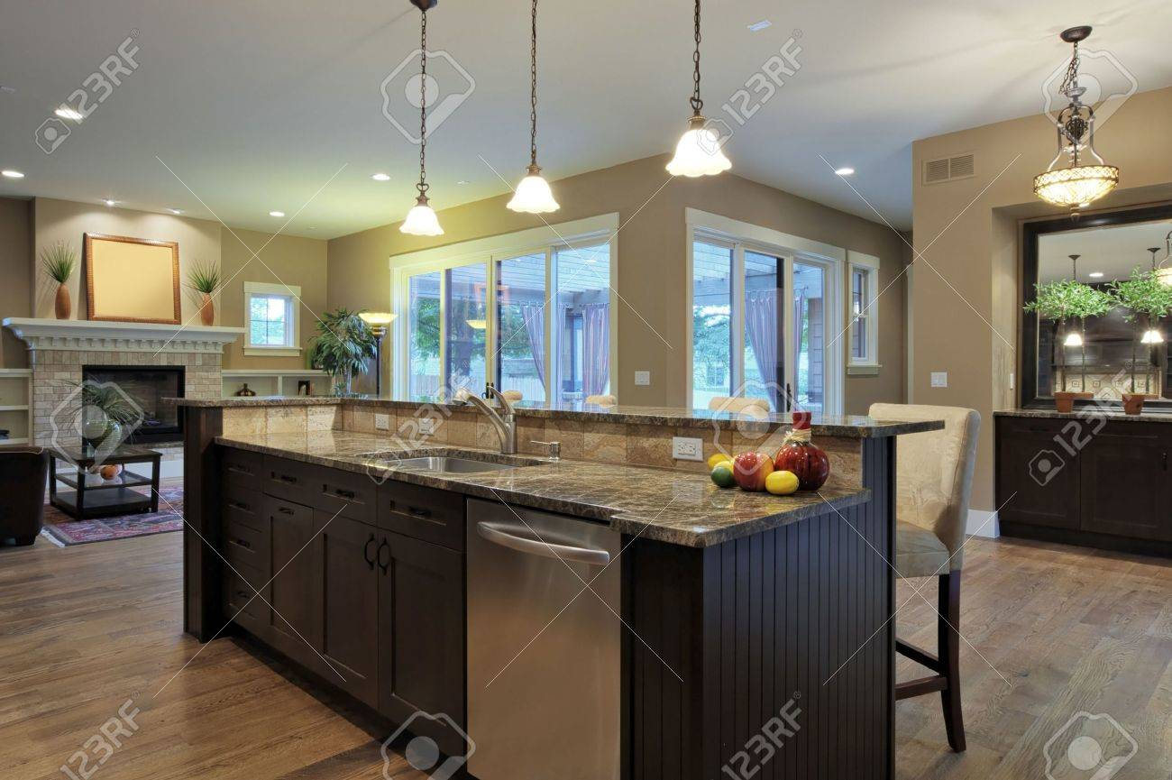 Kitchen With Granite Luxury Kitchen With Granite Countertops Stock Photo Picture And