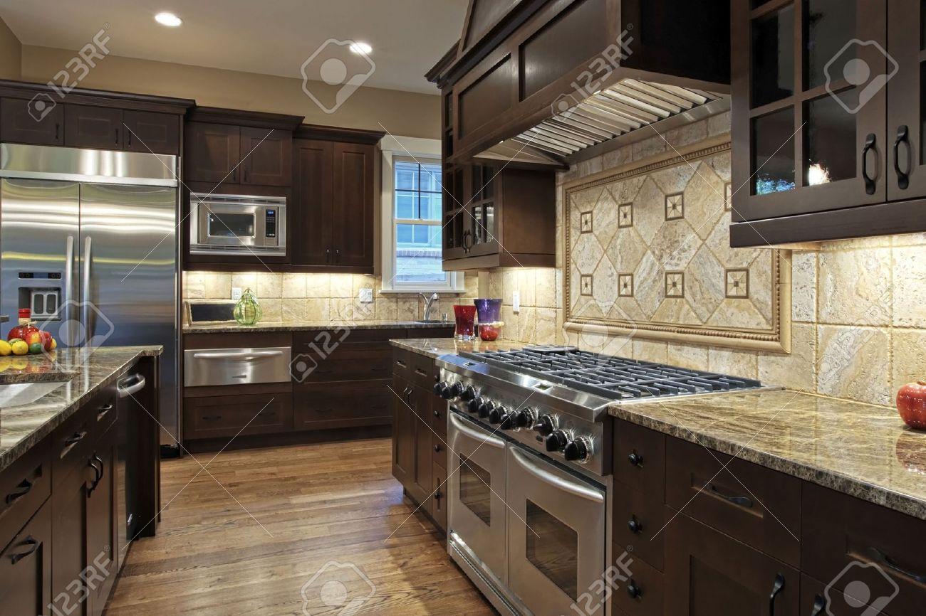 Luxury Kitchen With Granite Countertops Stock Photo   5289919