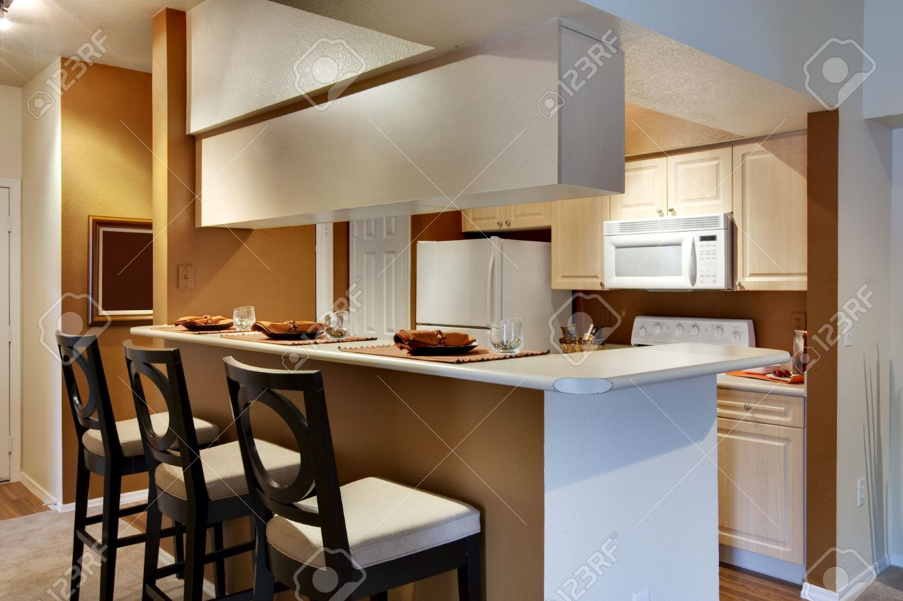 Kitchen Area Of Apartment With High Bar Style Countertop Stock Photo    5313601