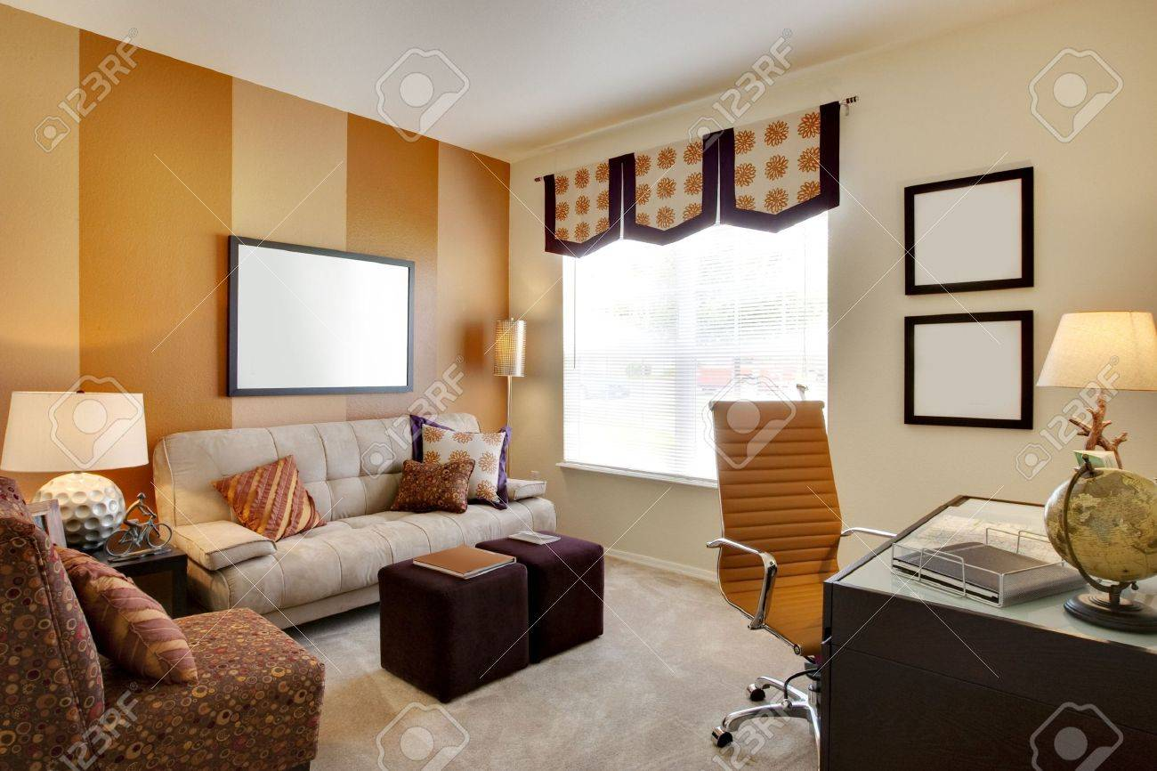 desk small office space. Small Office Space Room With Orange Accent Walls And Desk Stock Photo - 5313608