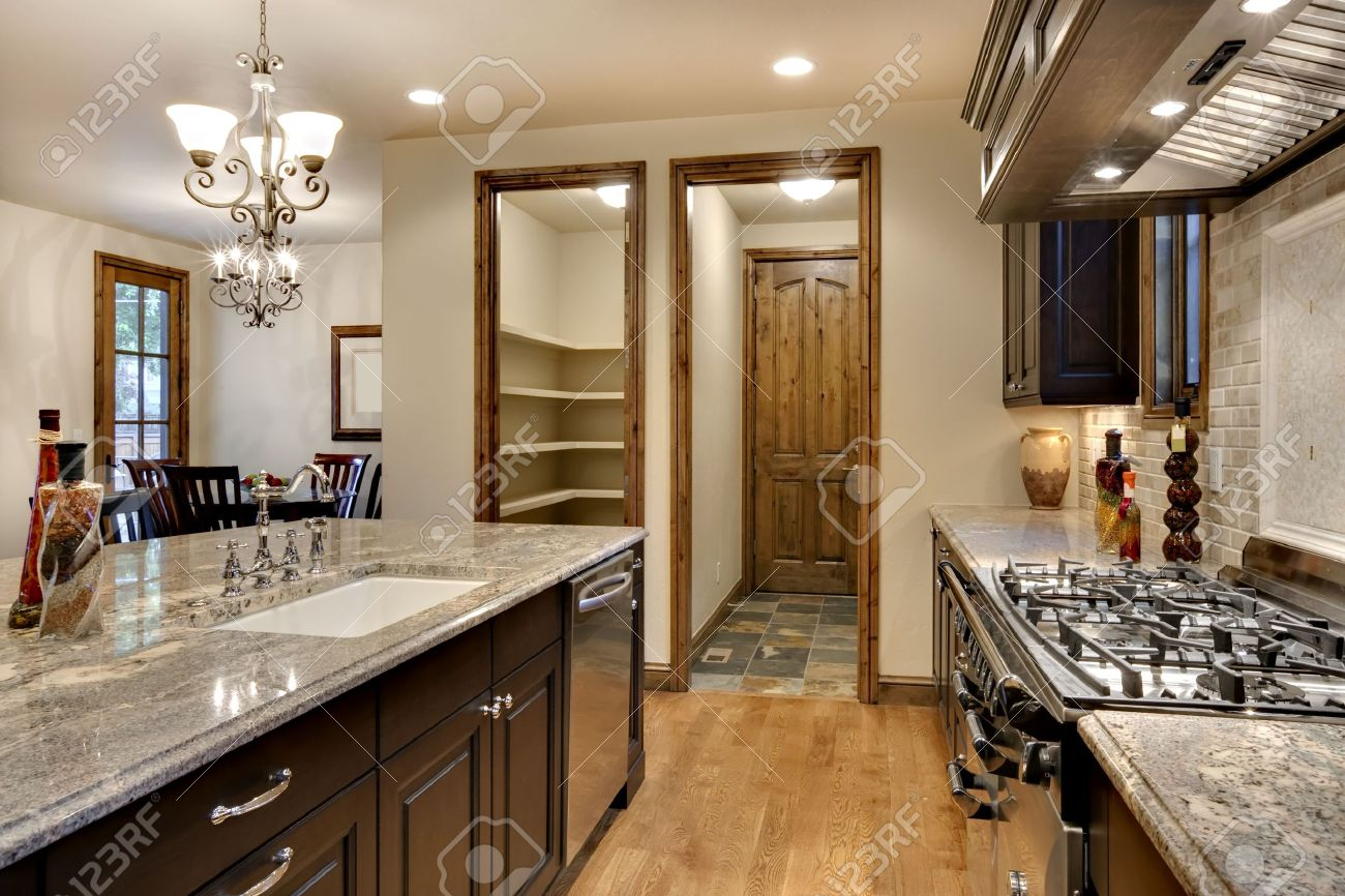 Kitchen With Granite Elegant Kitchen With Granite Counter Stock Photo Picture And