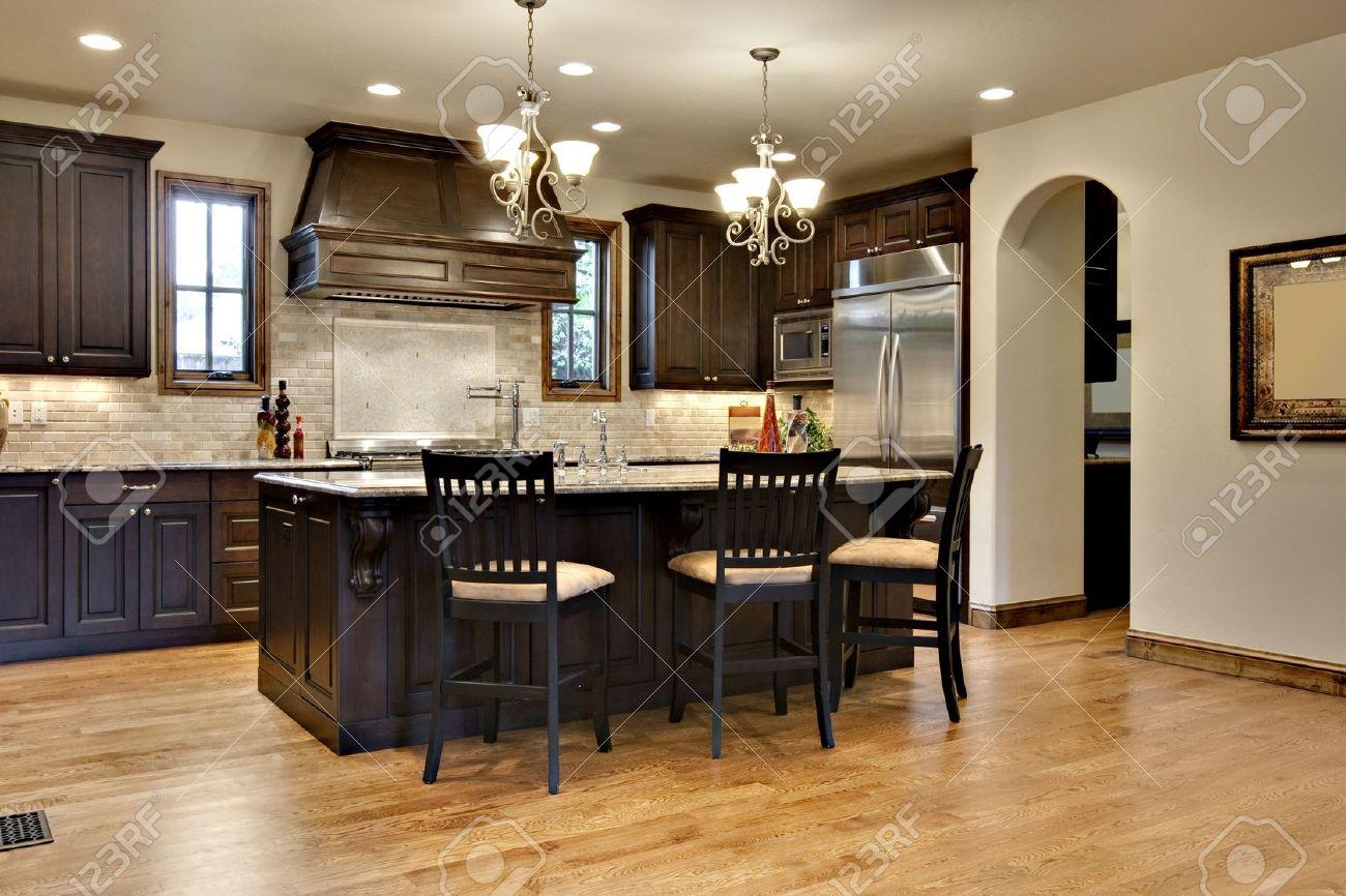 Dark Wood Kitchen Dark Wood Kitchen With Granite Counters Stock Photo Picture And