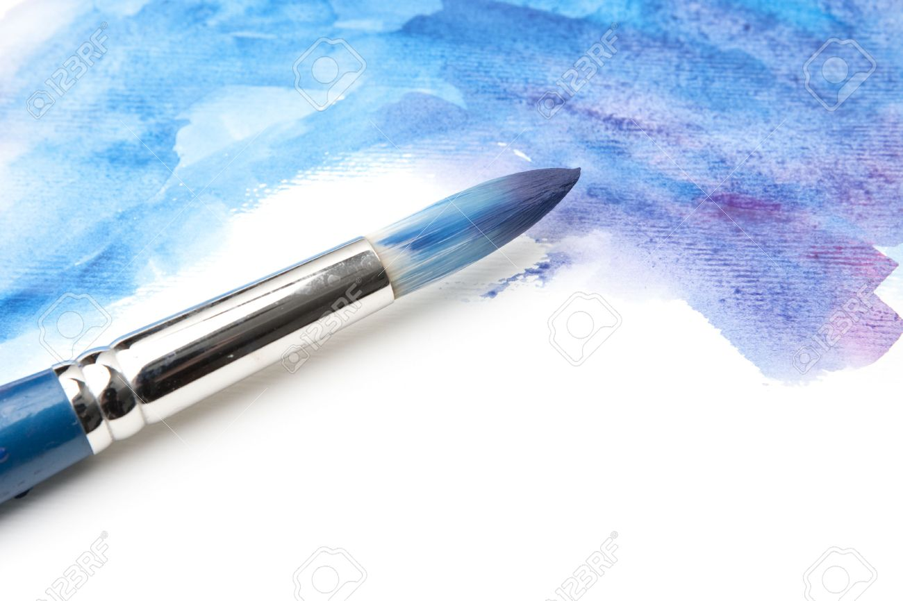 attractive Paint The Night Paintbrush Part - 14: Stock Photo - Watercolor Paintbrush on Painted Surface