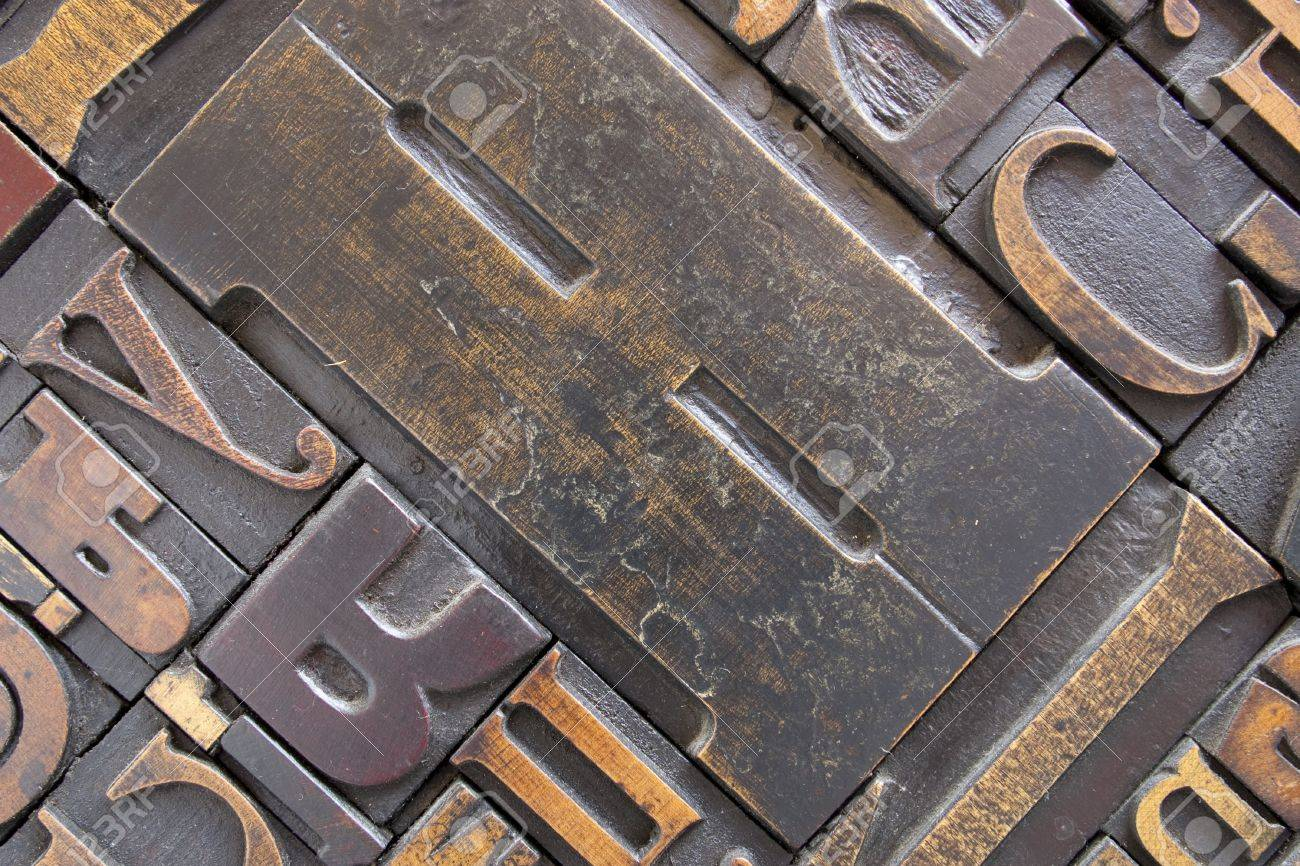 antique printing block letters focus across entire surface stock photo 7320966
