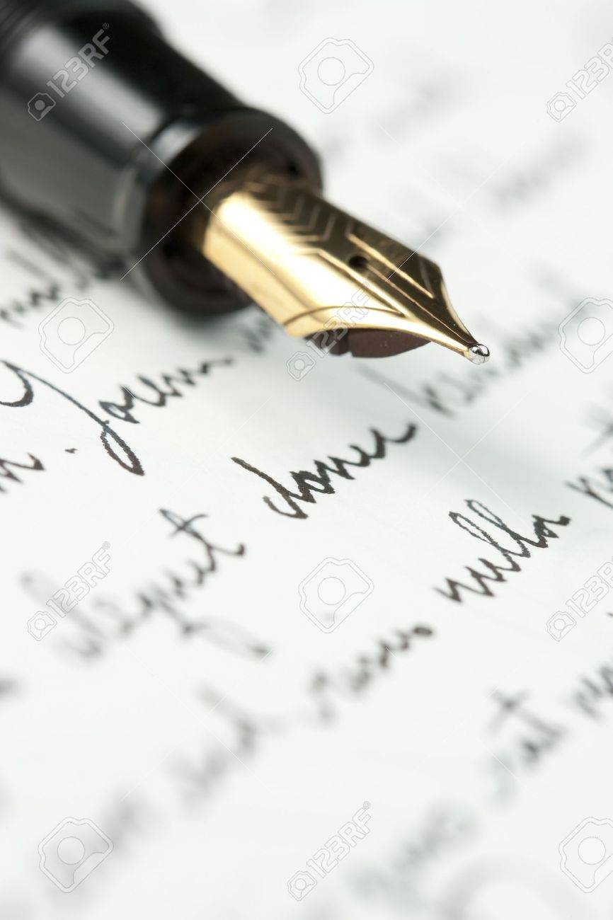 Selective focus on gold pen over hand written letter focus on selective focus on gold pen over hand written letter focus on tip of pen nib thecheapjerseys Images