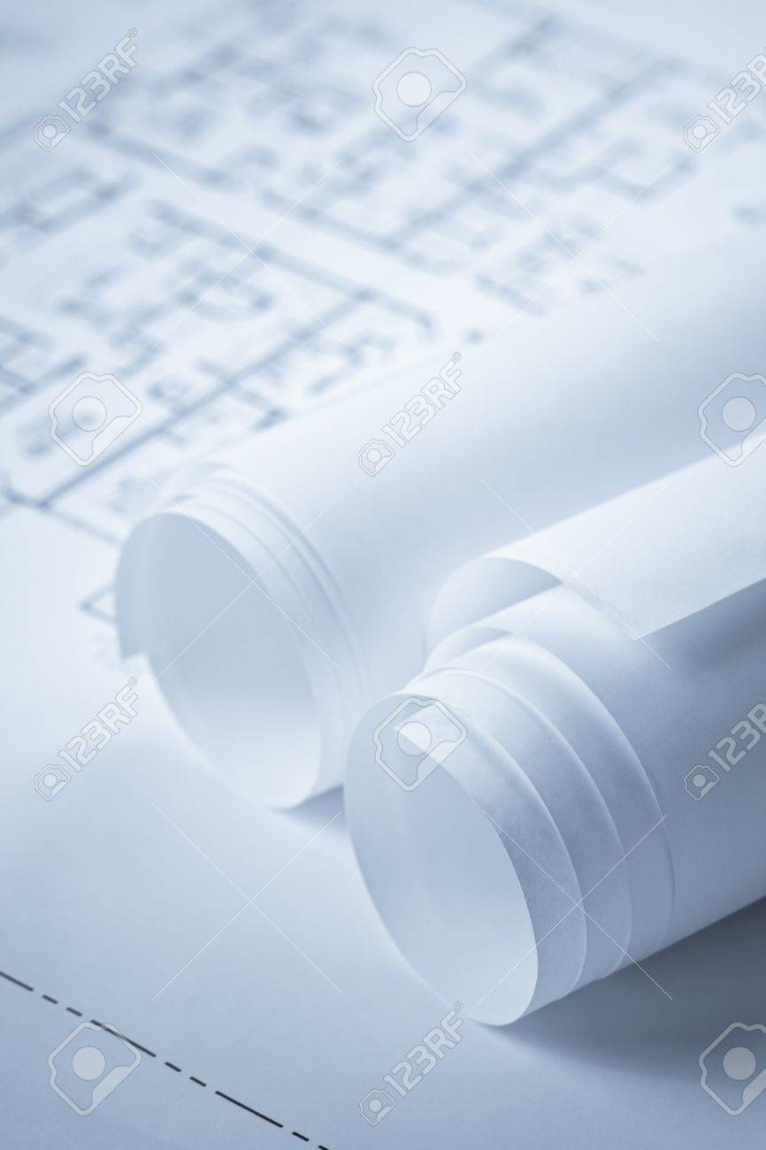 Blueprint floor plan documents in rolls and detailed plans beyond blueprint floor plan documents in rolls and detailed plans beyond depth of field in background malvernweather Choice Image