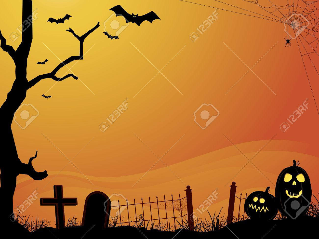 Sunset Halloween Scene With Cemetery Royalty Free Cliparts ...