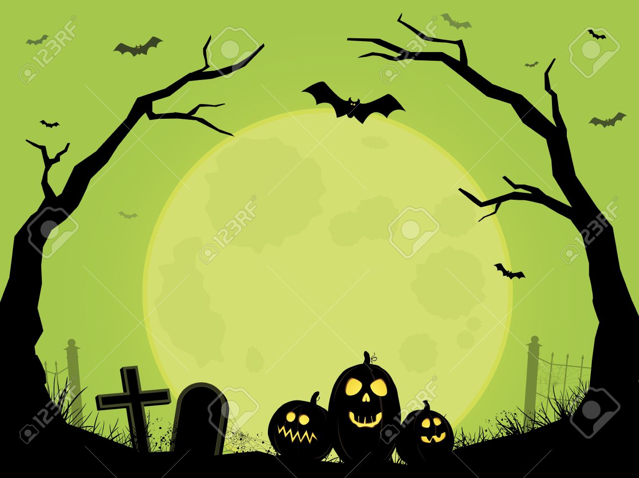Cemetery Halloween Scene Royalty Free Cliparts, Vectors, And Stock ...