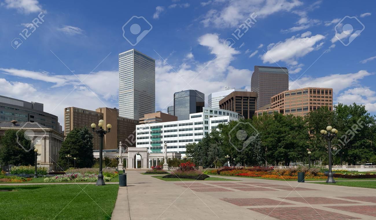 Denver Skyline from Civic Park. Summer of 2010. Stock Photo - 8639751