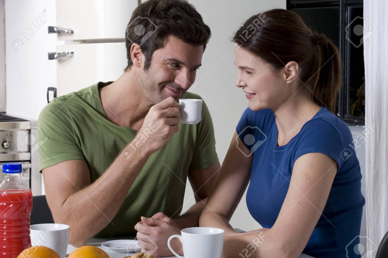 couple having breakfast in the kitchen Stock Photo - 8549960