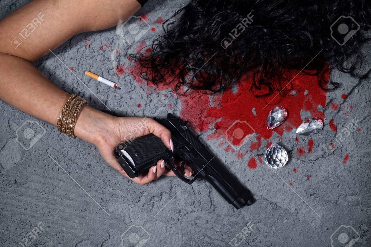 Cold Blooded Murder Woman After The Attack Lies In A Pool Of Blood Stock Photo