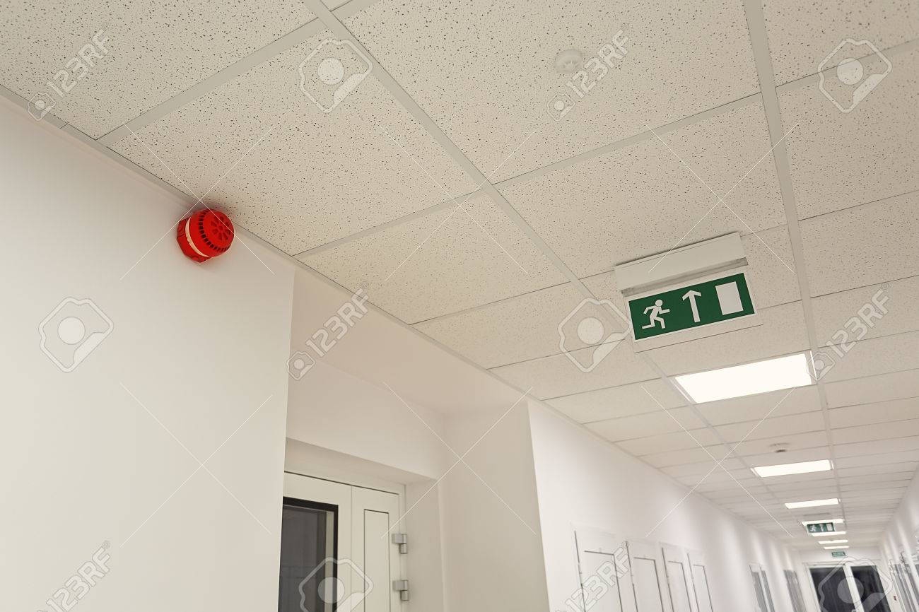 Emergency exit in the modern office building - 35637152