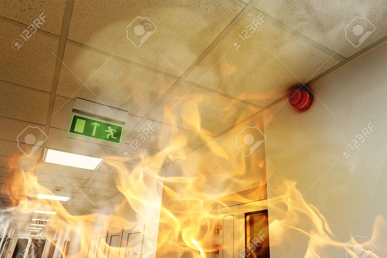 Big fire in the modern office building - 35637195
