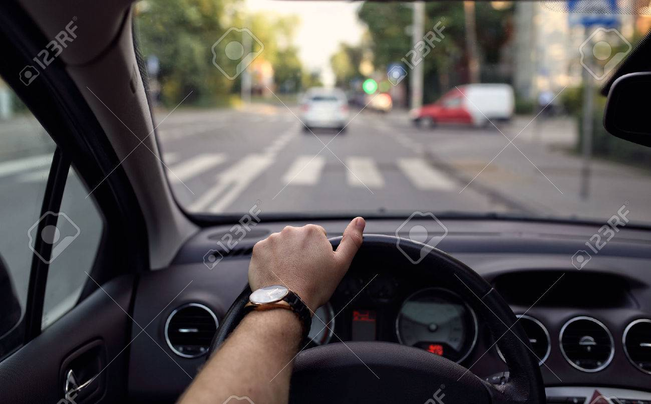 Pedestrian crossing from the driver's eyes - 42095478