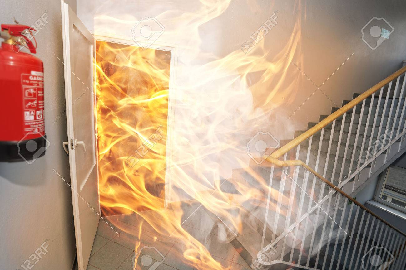 Big fire in the office building - 55158442