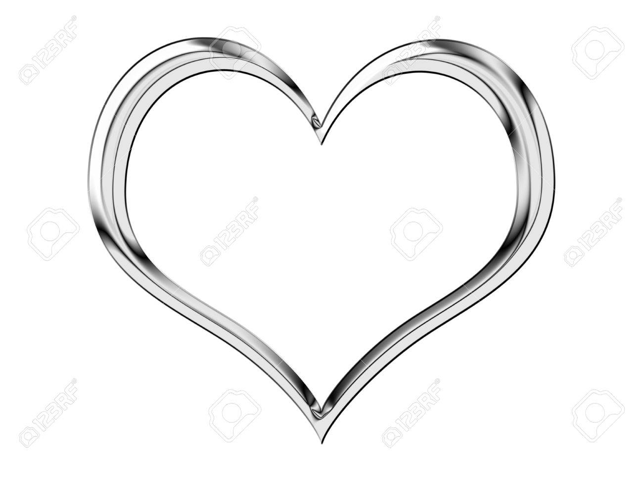 A shiny, metallic heart shape isolated on white Stock Photo - 2587217