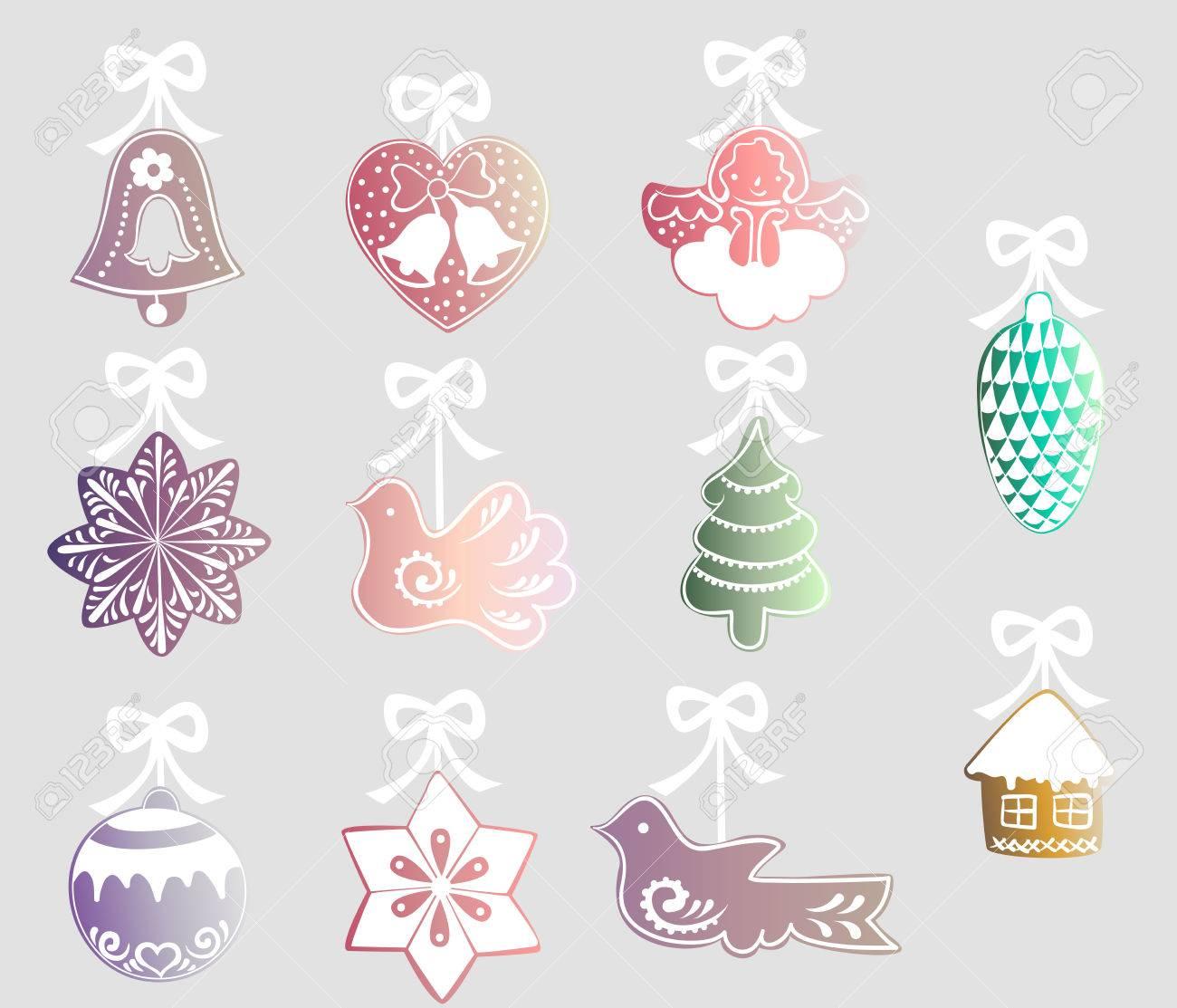 conjunto de de colores con cintas blancas para el rbol de navidad una campana