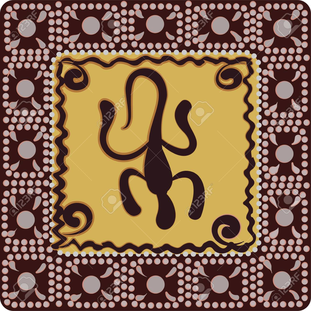 A square pattern with imitation of elements of rock art of ancient Indians, Aztecs, cavemen - 98034770