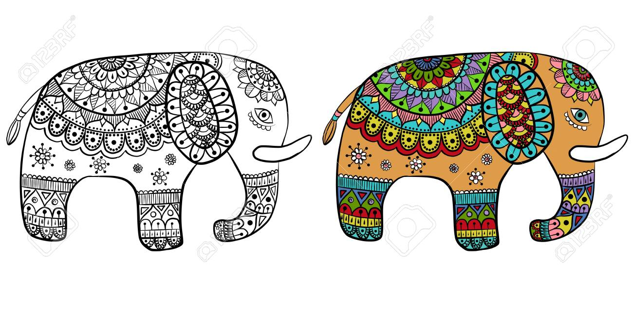 Drawing Of A Cartoon Cute Ethnic Ornate Elephant In Color And