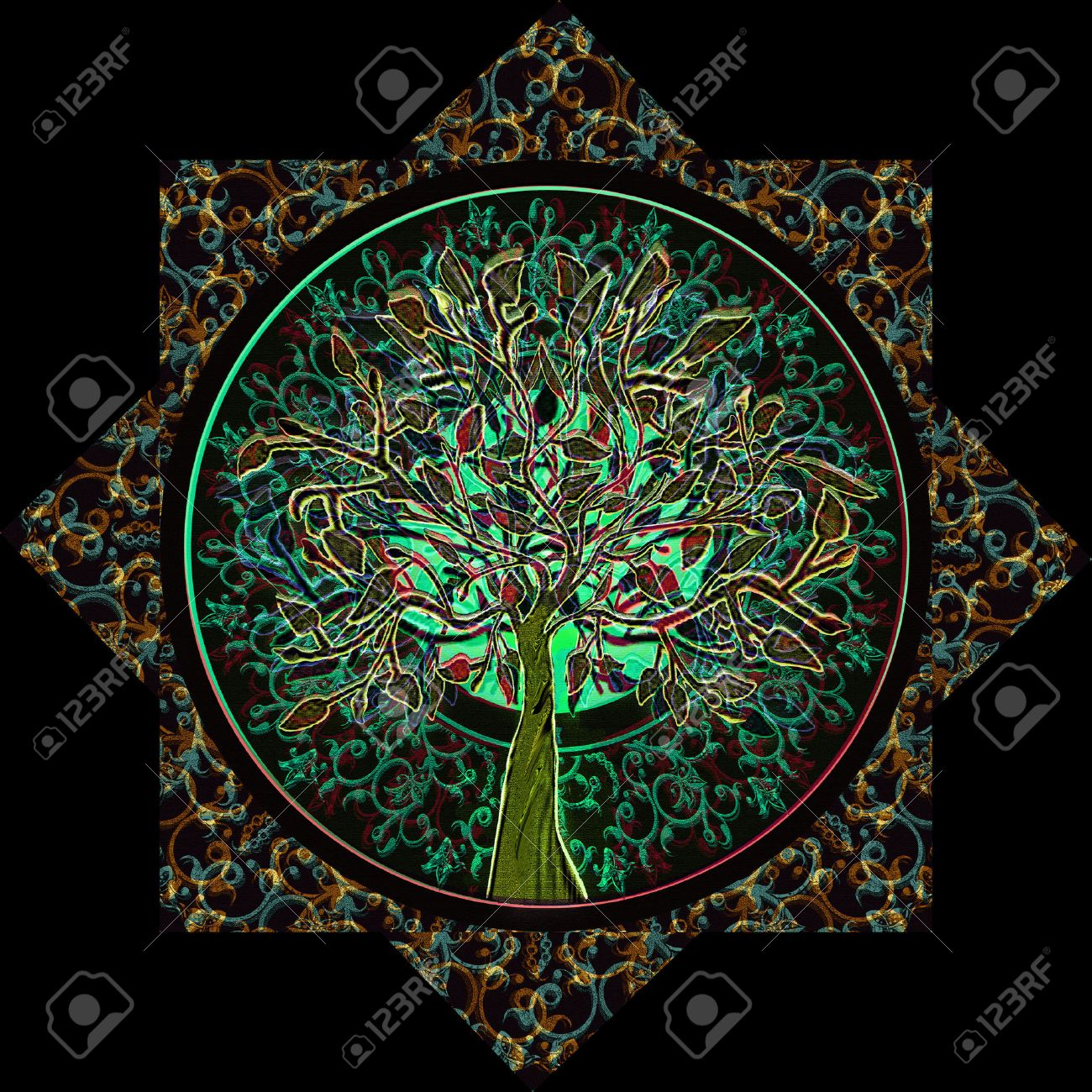 Tree Of Life In Ornate Star Frame Stock Photo Picture And Royalty